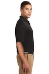 Sport-Tek K469 Mens Dri-Mesh Moisture Wicking Short Sleeve Polo Shirt Black Side