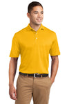 Sport-Tek K469 Mens Dri-Mesh Moisture Wicking Short Sleeve Polo Shirt Gold Front