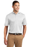 Sport-Tek K469 Mens Dri-Mesh Moisture Wicking Short Sleeve Polo Shirt White Front