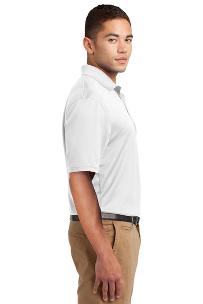 Sport-Tek K469 Mens Dri-Mesh Moisture Wicking Short Sleeve Polo Shirt White Side