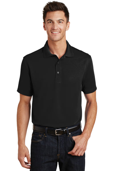 Port Authority K497 Mens Moisture Wicking Short Sleeve Polo Shirt Black Front