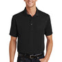 Port Authority Mens Moisture Wicking Short Sleeve Polo Shirt - Black - Closeout