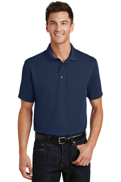 Port Authority K497 Mens Moisture Wicking Short Sleeve Polo Shirt Navy Blue Front