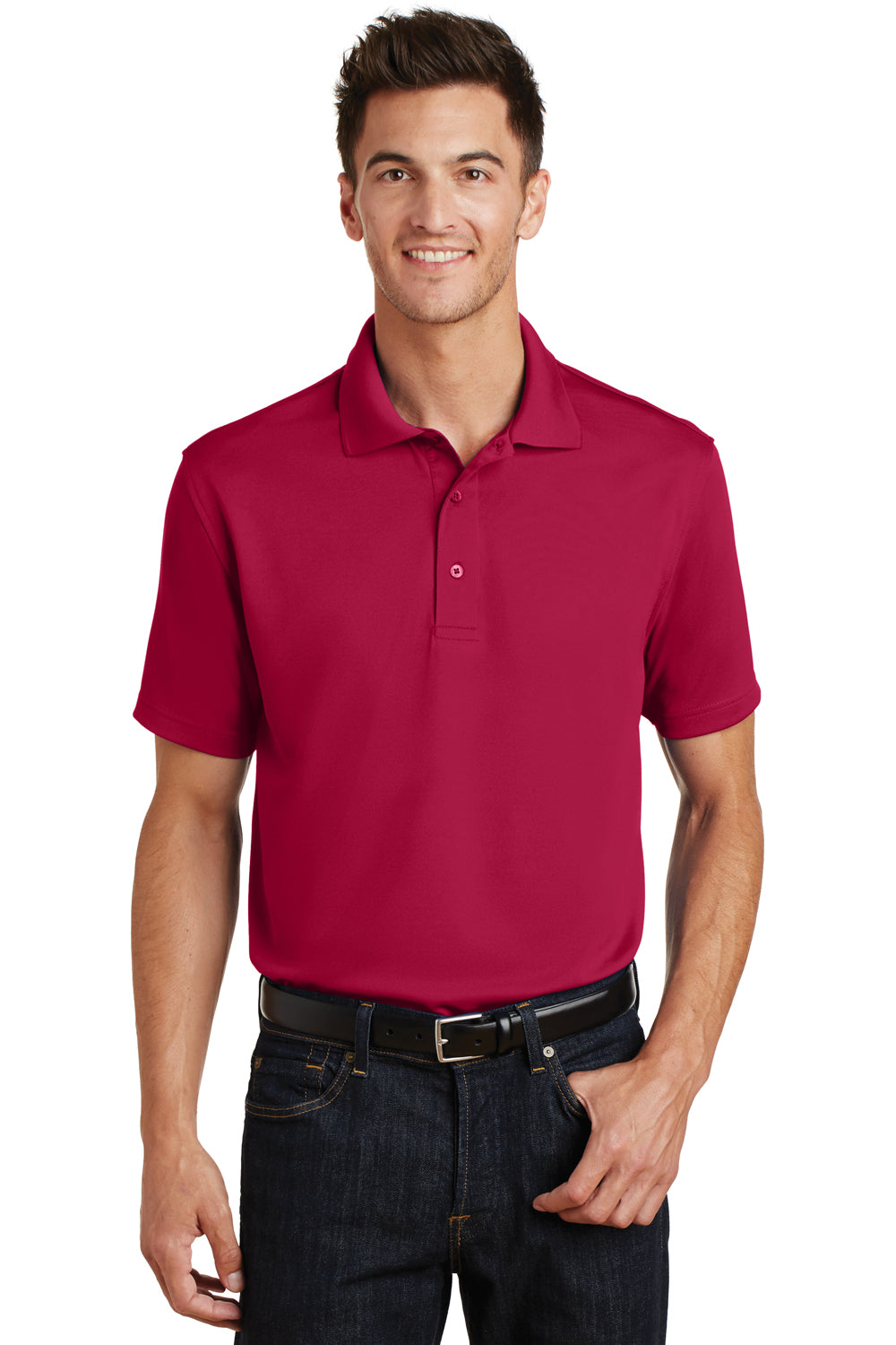 Port Authority K497 Mens Moisture Wicking Short Sleeve Polo Shirt Red Front