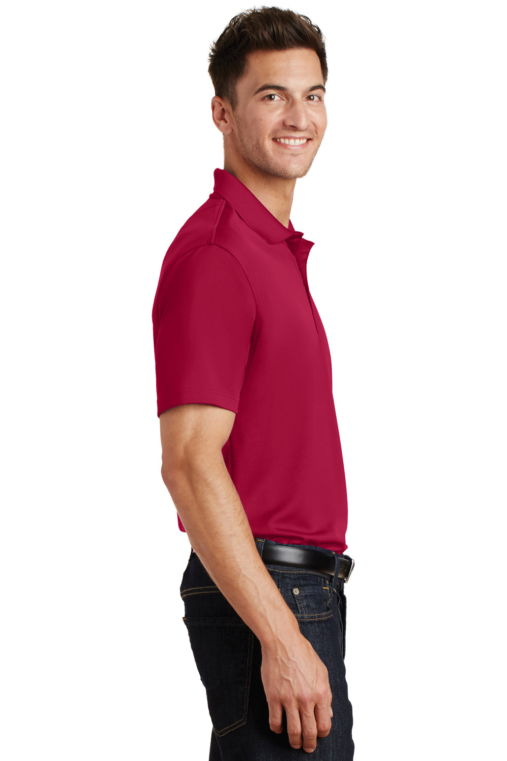 Port Authority K497 Mens Moisture Wicking Short Sleeve Polo Shirt Red Side