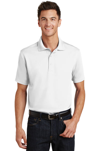 Port Authority K497 Mens Moisture Wicking Short Sleeve Polo Shirt White Front