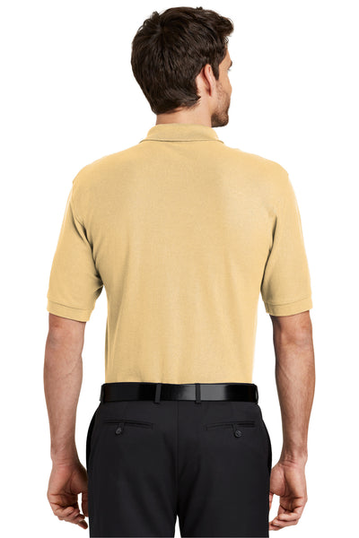 Port Authority K500 Mens Silk Touch Wrinkle Resistant Short Sleeve Polo Shirt Yellow Back
