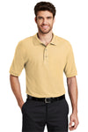 Port Authority K500 Mens Silk Touch Wrinkle Resistant Short Sleeve Polo Shirt Yellow Front