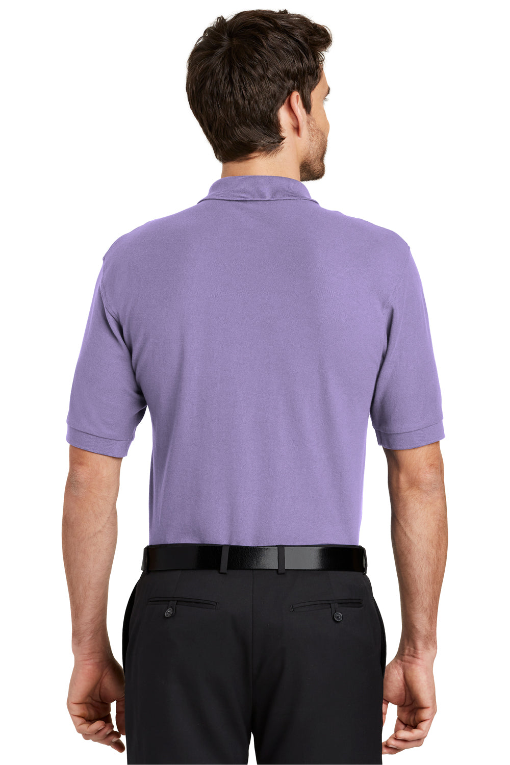Port Authority K500 Mens Silk Touch Wrinkle Resistant Short Sleeve Polo Shirt Lavender Purple Back