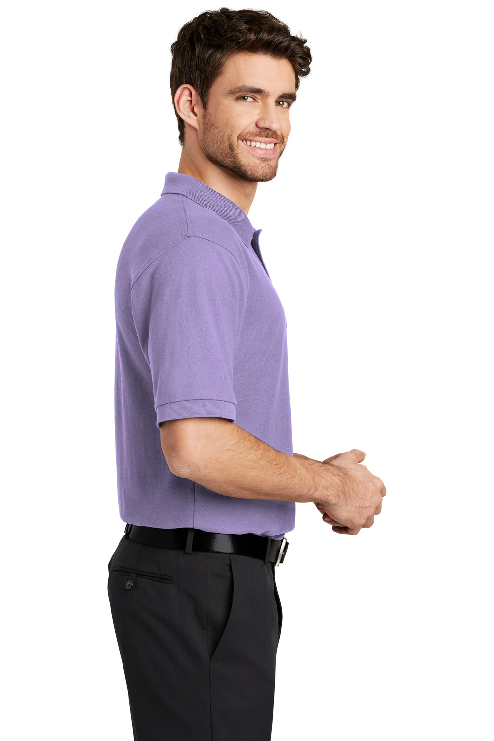 Port Authority K500 Mens Silk Touch Wrinkle Resistant Short Sleeve Polo Shirt Lavender Purple Side