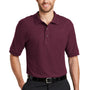 Port Authority Mens Silk Touch Wrinkle Resistant Short Sleeve Polo Shirt - Burgundy