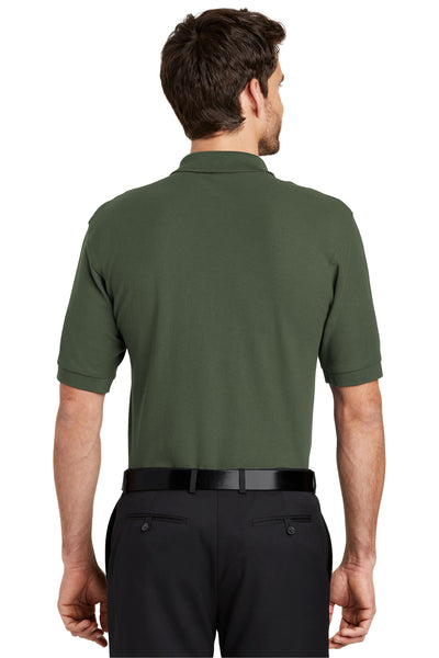 Port Authority K500 Mens Silk Touch Wrinkle Resistant Short Sleeve Polo Shirt Clover Green Back