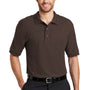 Port Authority Mens Silk Touch Wrinkle Resistant Short Sleeve Polo Shirt - Coffee Bean Brown