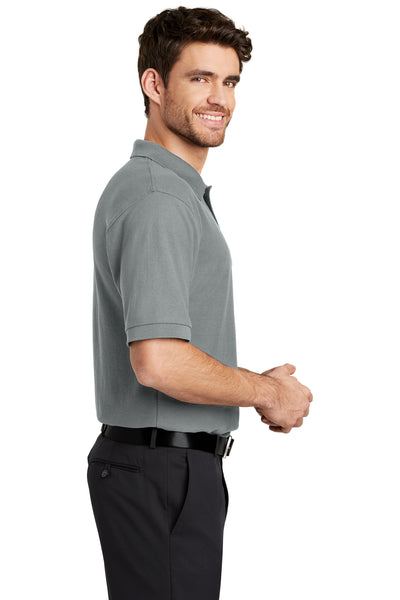 Port Authority K500 Mens Silk Touch Wrinkle Resistant Short Sleeve Polo Shirt Cool Grey Side