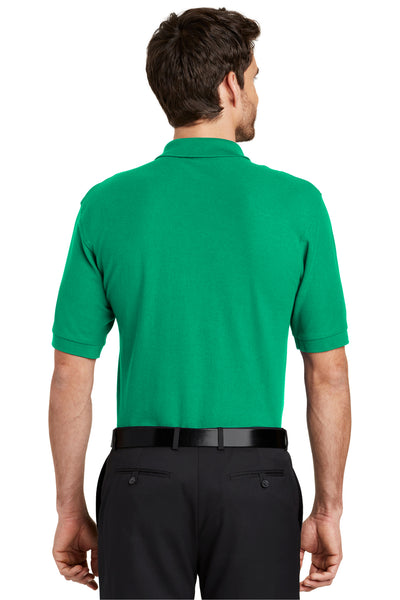 Port Authority K500 Mens Silk Touch Wrinkle Resistant Short Sleeve Polo Shirt Court Green Back