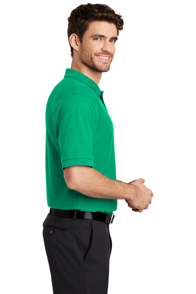 Port Authority K500 Mens Silk Touch Wrinkle Resistant Short Sleeve Polo Shirt Court Green Side