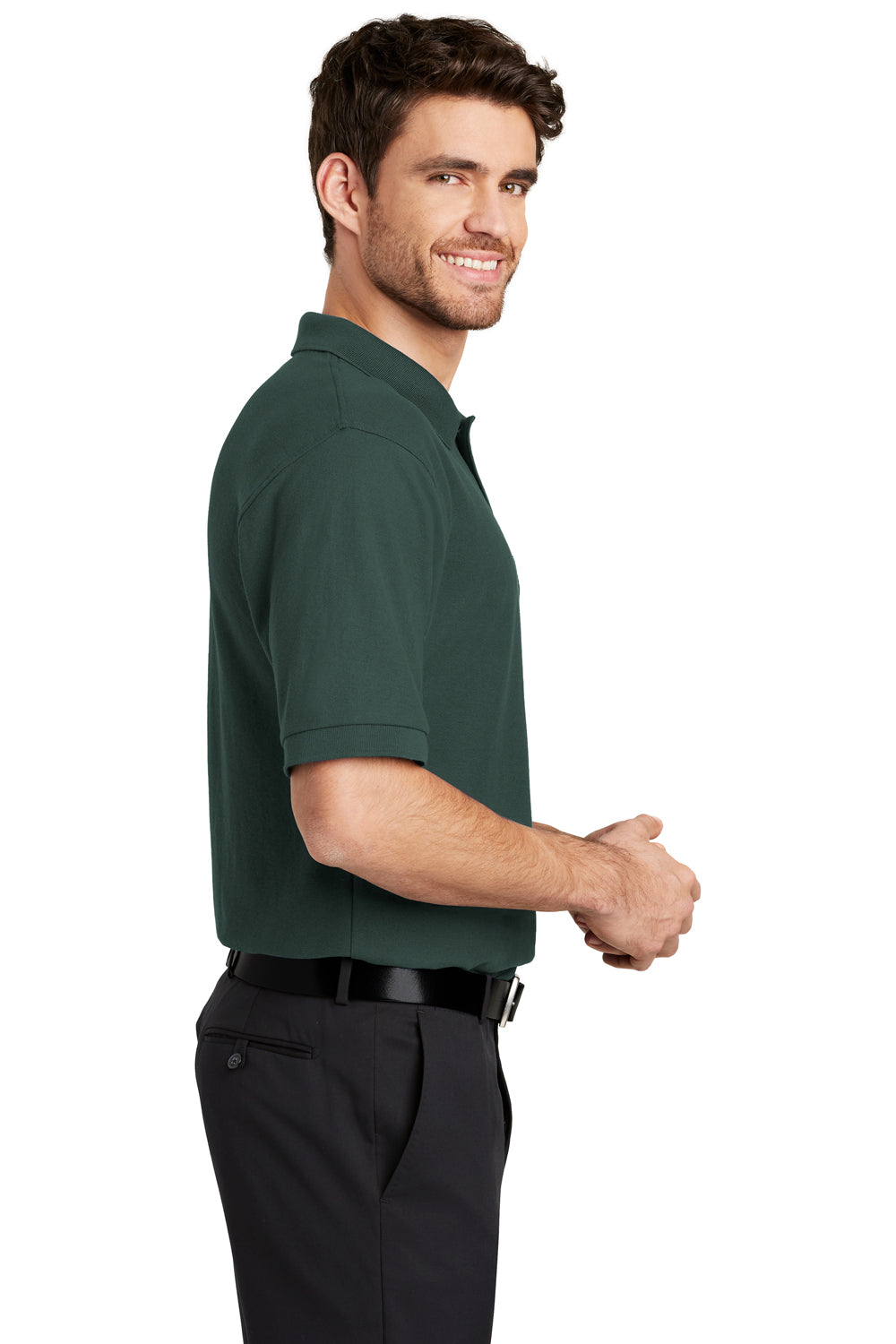 Port Authority K500 Mens Silk Touch Wrinkle Resistant Short Sleeve Polo Shirt Dark Green Side
