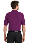 Port Authority K500 Mens Silk Touch Wrinkle Resistant Short Sleeve Polo Shirt Berry Purple Back