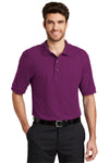 Port Authority K500 Mens Silk Touch Wrinkle Resistant Short Sleeve Polo Shirt Berry Purple Front