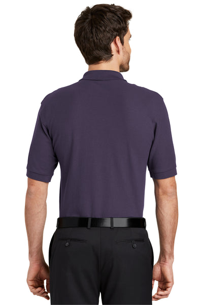 Port Authority K500 Mens Silk Touch Wrinkle Resistant Short Sleeve Polo Shirt Eggplant Purple Back