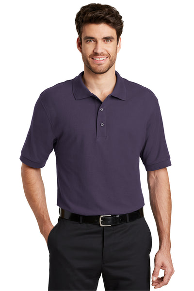 Port Authority K500 Mens Silk Touch Wrinkle Resistant Short Sleeve Polo Shirt Eggplant Purple Front