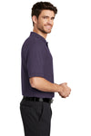 Port Authority K500 Mens Silk Touch Wrinkle Resistant Short Sleeve Polo Shirt Eggplant Purple Side