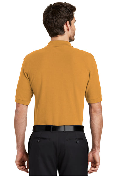 Port Authority K500 Mens Silk Touch Wrinkle Resistant Short Sleeve Polo Shirt Gold Back