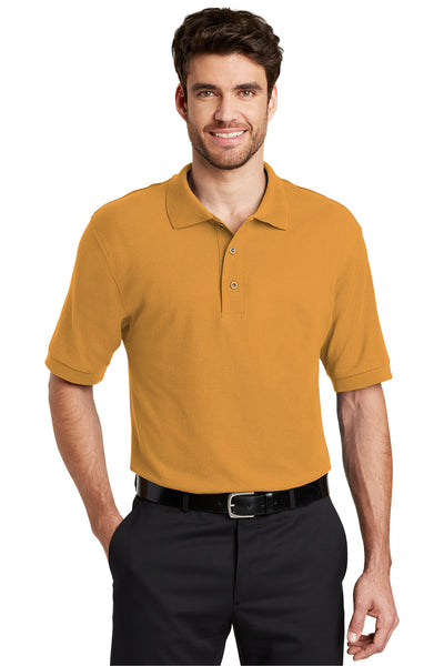 Port Authority K500 Mens Silk Touch Wrinkle Resistant Short Sleeve Polo Shirt Gold Front