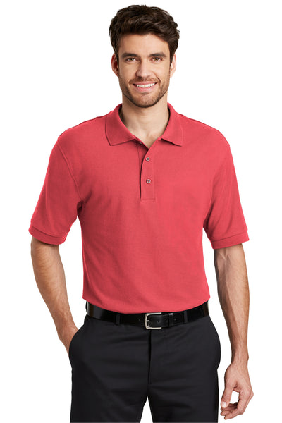 Port Authority K500 Mens Silk Touch Wrinkle Resistant Short Sleeve Polo Shirt Hibiscus Pink Front