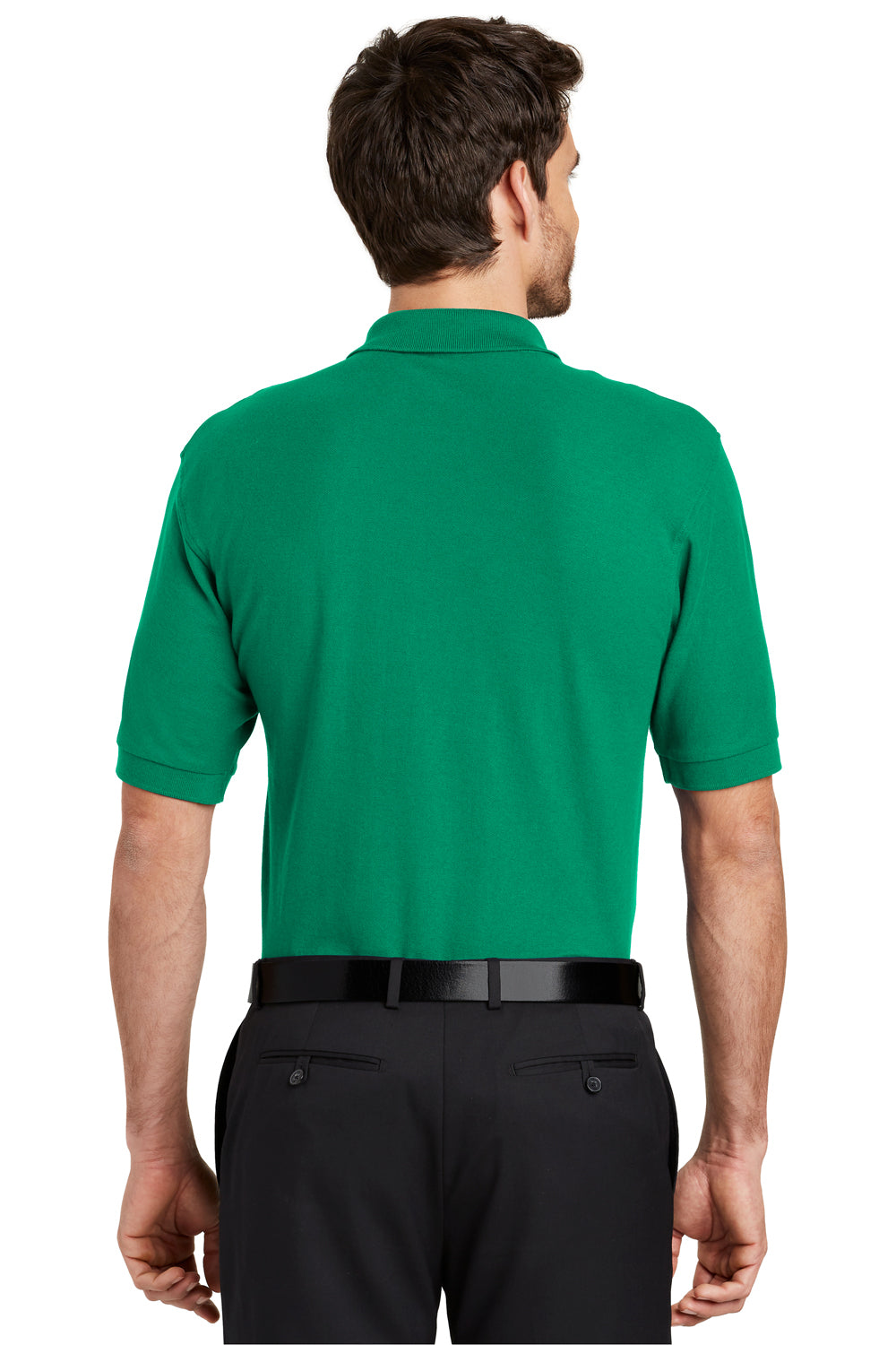 Port Authority K500 Mens Silk Touch Wrinkle Resistant Short Sleeve Polo Shirt Kelly Green Back