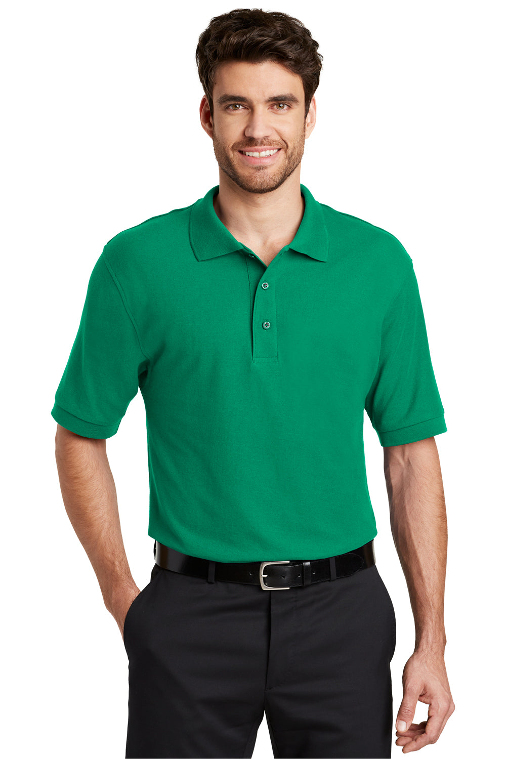 Port Authority K500 Mens Silk Touch Wrinkle Resistant Short Sleeve Polo Shirt Kelly Green Front