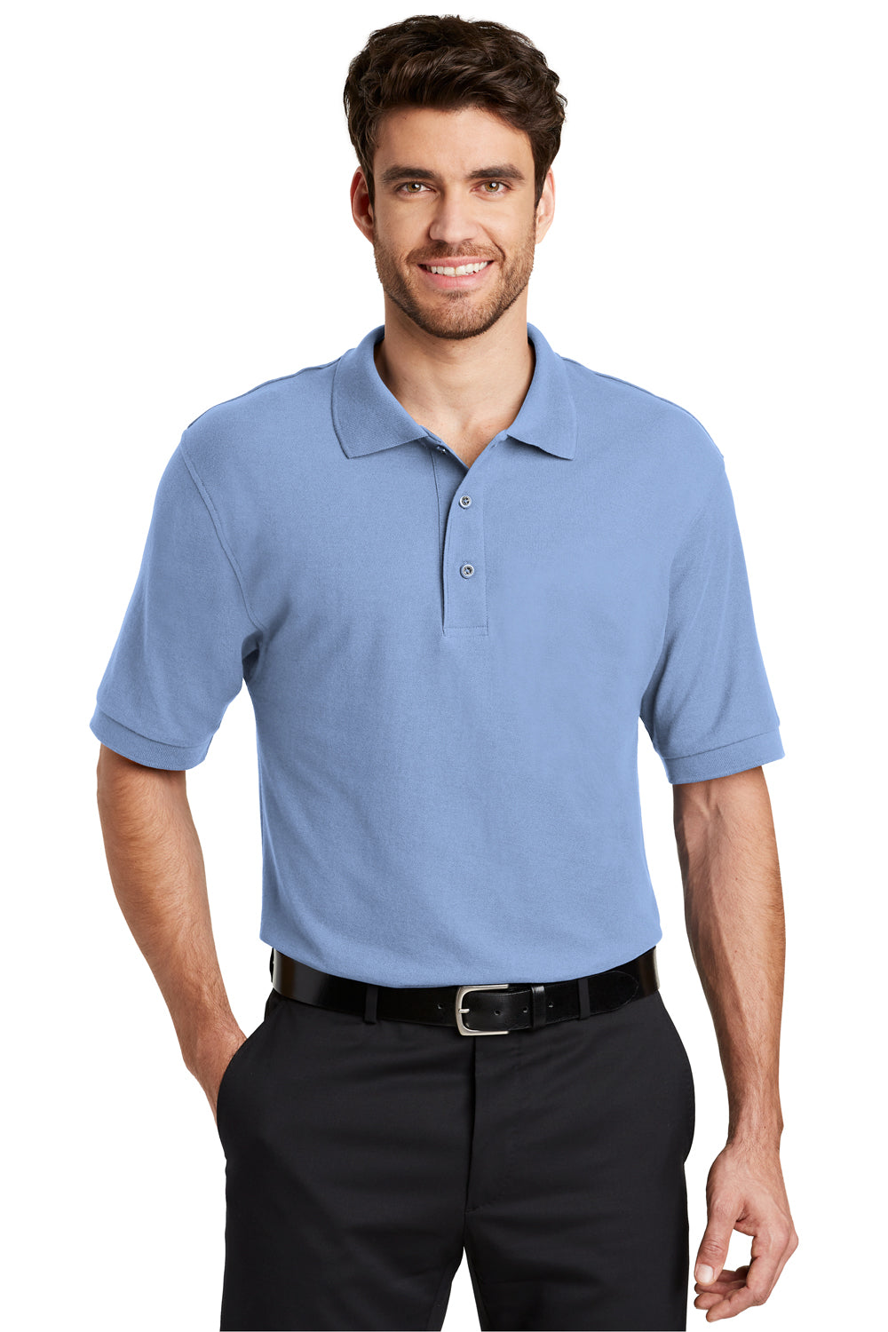 Port Authority K500 Mens Silk Touch Wrinkle Resistant Short Sleeve Polo Shirt Light Blue Front