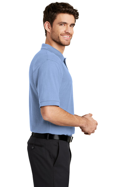 Port Authority K500 Mens Silk Touch Wrinkle Resistant Short Sleeve Polo Shirt Light Blue Side