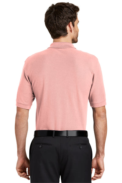 Port Authority K500 Mens Silk Touch Wrinkle Resistant Short Sleeve Polo Shirt Light Pink Back