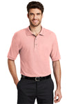 Port Authority K500 Mens Silk Touch Wrinkle Resistant Short Sleeve Polo Shirt Light Pink Front