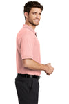 Port Authority K500 Mens Silk Touch Wrinkle Resistant Short Sleeve Polo Shirt Light Pink Side