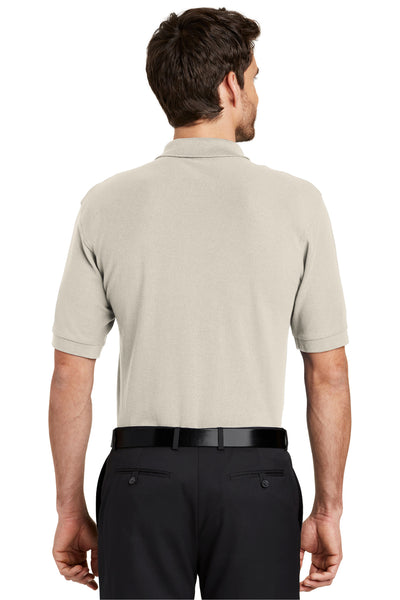 Port Authority K500 Mens Silk Touch Wrinkle Resistant Short Sleeve Polo Shirt Light Stone Brown Back
