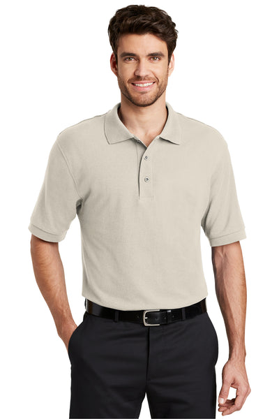 Port Authority K500 Mens Silk Touch Wrinkle Resistant Short Sleeve Polo Shirt Light Stone Brown Front
