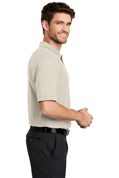 Port Authority K500 Mens Silk Touch Wrinkle Resistant Short Sleeve Polo Shirt Light Stone Brown Side