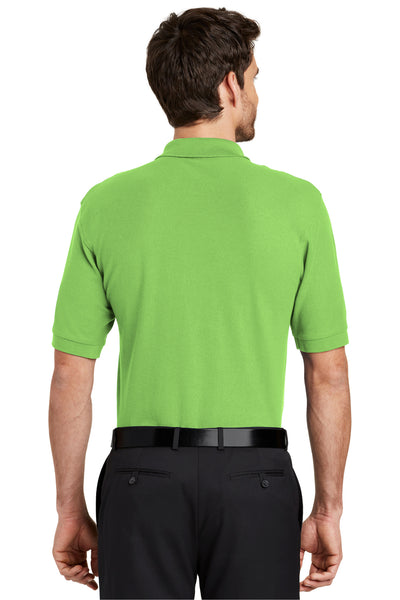 Port Authority K500 Mens Silk Touch Wrinkle Resistant Short Sleeve Polo Shirt Lime Green Back