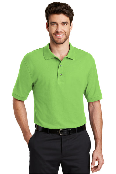 Port Authority K500 Mens Silk Touch Wrinkle Resistant Short Sleeve Polo Shirt Lime Green Front