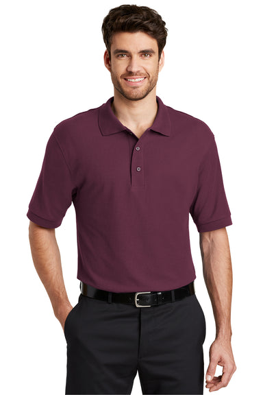 Port Authority K500 Mens Silk Touch Wrinkle Resistant Short Sleeve Polo Shirt Maroon Front