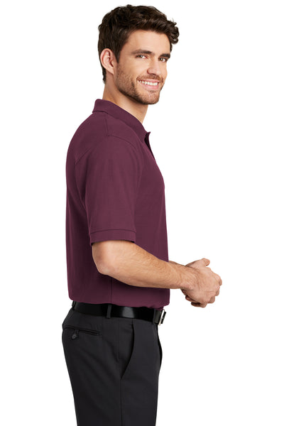 Port Authority K500 Mens Silk Touch Wrinkle Resistant Short Sleeve Polo Shirt Maroon Side