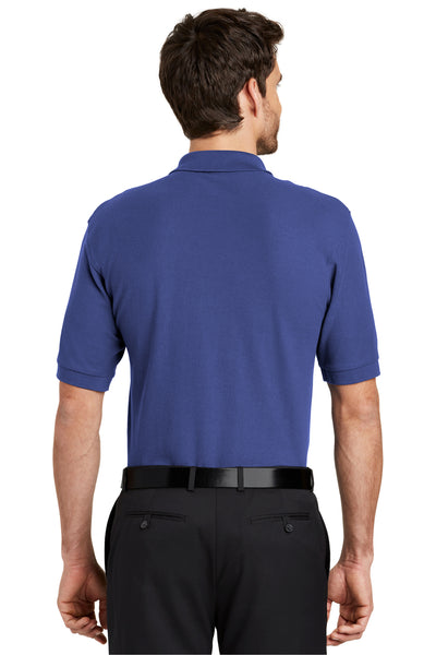 Port Authority K500 Mens Silk Touch Wrinkle Resistant Short Sleeve Polo Shirt Mediterranean Blue Back