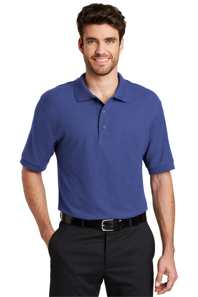 Port Authority K500 Mens Silk Touch Wrinkle Resistant Short Sleeve Polo Shirt Mediterranean Blue Front