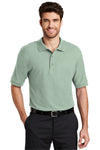 Port Authority K500 Mens Silk Touch Wrinkle Resistant Short Sleeve Polo Shirt Mint Green Front