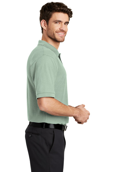 Port Authority K500 Mens Silk Touch Wrinkle Resistant Short Sleeve Polo Shirt Mint Green Side