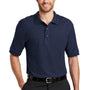 Port Authority Mens Silk Touch Wrinkle Resistant Short Sleeve Polo Shirt - Navy Blue