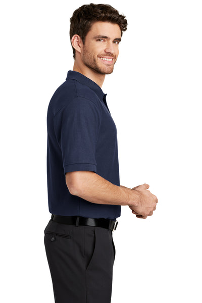 Port Authority K500 Mens Silk Touch Wrinkle Resistant Short Sleeve Polo Shirt Navy Blue Side