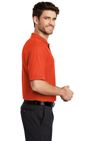 Port Authority K500 Mens Silk Touch Wrinkle Resistant Short Sleeve Polo Shirt Orange Side